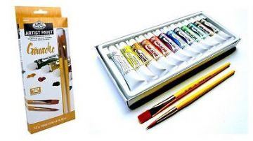 ARTISTS GOUACHE PAINT SET OF 12 + 2 BRUSHES BY ROYAL & LANGNICKEL